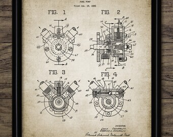 Car Fuel Pump Patent Print - 1932 Car Design - American Car Art - Garage Mechanic - Car Wall Art - Single Print #2121 - INSTANT DOWNLOAD