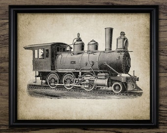 Steam Locomotive Print - Steam Train - Railroad - Vintage Railway Illustration - Printable Art - Single Print #301 - INSTANT DOWNLOAD