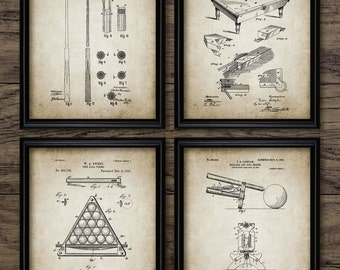 Vintage Billiards Patent Print Set Of 4 - Snooker Cue - Table - Frame - Bridge - Invention - Set Of Four Prints #469 - INSTANT DOWNLOAD