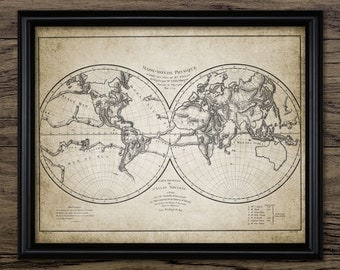 Vintage World Map Print - World Map Decor - World Map Wall Art - World Map Design - Printable Art - Single Print #585 - INSTANT DOWNLOAD
