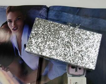 Silver Acrylic Glitter Box Clutch