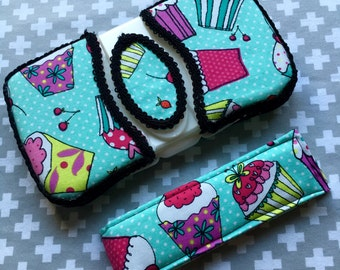 Cupcakes ~ Travel Wipes Case & Diaper Strap