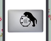 Mac Decal Cat and Fishbowl Apple Macbook and other laptop sticker Mac Stickers Fun Mac Decal Animal stickers iPad decal iMac sticker