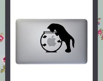 Mac Decal, Cat and Fishbowl, Apple Macbook and other laptop sticker, Mac Stickers, Fun Mac Decal, Animal stickers, iPad decal, iMac sticker