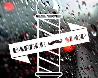 Wall Decal, Barber Shop, Vintage Style, Barber Pole, Hairdresser Window Decal, Window Sticker, Barber Shop Sticker, Salon Decal