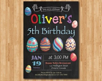 Easter birthday invitation. Easter Egg Hunt Invitation. Birthday party invite. Any age. Chalkboard. Boy or Girl. Printable digital DIY.