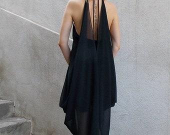 ON SALE 25% OFF Black Summer Dress / Black Dress / Backless Summer Dress / Chiffon Dress / Little Black Dress Tdk132