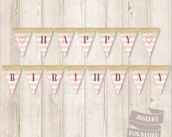 Printable Gold and Pink Birthday Banner, Gold Glitter, Watercolor Pink Stripes, Birthday Bunting Banner, INSTANT DOWNLOAD