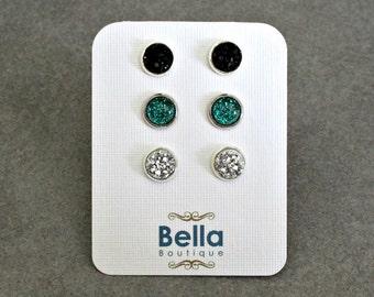 Stud Earring Set, Druzy Earring Set, Stud Earrings, Green Stud Earrings, Black Druzy Earrings, Druzy Earrings, Silver Stud Earrings