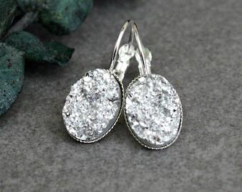 Silver Drop Earring, Silver Earrings, Silver Druzy Earrings, Silver Chandelier Earrings, Silver Lever Back Earring, Silver Glitter Earrings