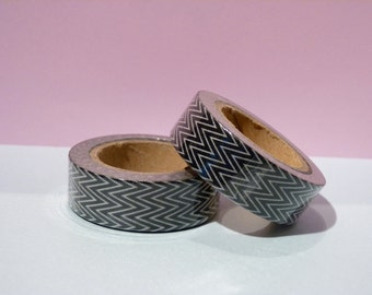 Foil Washi Tape roll - black chevrons - Christmas - Gift - decoration
