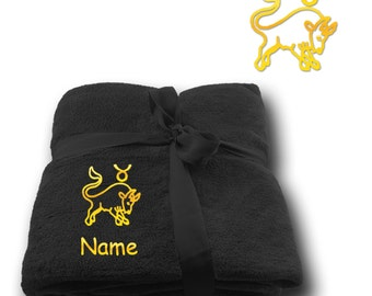 Blanket embroidered with Star sign Taurus  + Name