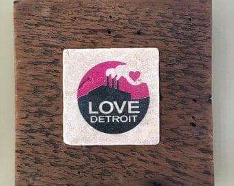 Love Detroit Tile Framed in Reclaimed Detroit Wood