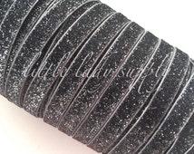 "Charcoal Glitter Elastic 3/8"", you choose yards, wholesale, glitter, headbands, elastic, ribbon"