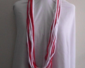 Scarf, Red/White Jersey T-Shirt Infinity Scarf