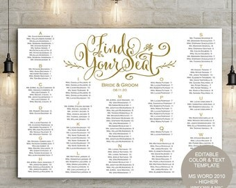 Rustic Wedding seating chart template| seating chart diy poster |  Instant download| Find your seat| Wedding signs| You edit the text| S11