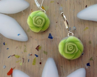 Silver and Clay Green Rose Drop Earrings