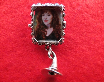 Supernatural Rowena picture with witch's hat pin brooch.