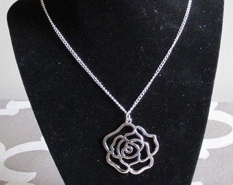 Rose Necklace, Flower Necklace, Silver Necklace ,Vintage Inpired Necklace, Flower Jewelry