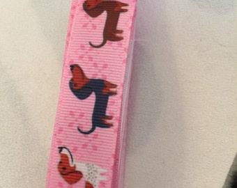 Pink sausage dogs collar