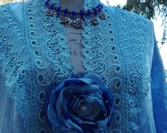 Shabby chic vintage blue negligee nightgown Shabby chic black woman chic BRIDE blue as the sea.
