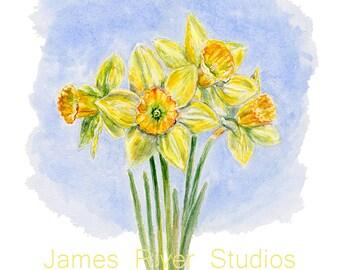 Daffodil Painting Daffodil Print Daffodil Art Daffodil Watercolor Daffodils Wall Decor Yellow Daffodils Yellow Flower Art Yellow Wall Decor.