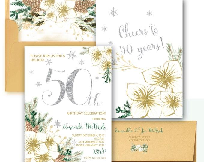 50th Birthday Invitation // Winter 50th Birthday Invitation // Fiftieth Birthday // Snowflakes //  30 // Holiday // VERMONT COLLECTION
