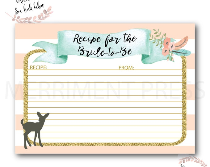 Recipe Card for the Bride to Be // Oh Deer // Bridal Shower // Woodland // Peach // Mint // Gold Glitter//Pink //Printed// OXFORD COLLECTION