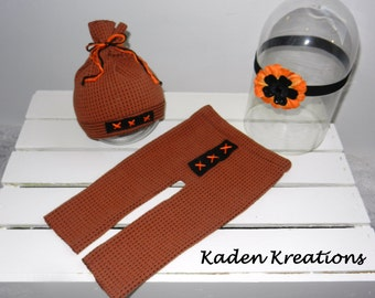 Upcycled Newborn Photography Prop, Halloween Photography Prop, Fall Photography Prop, Orange and Black Upcycled Pants, Hat and Headband