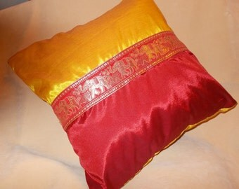 Genuine Thai Silk cushion cover with Elephant motif - 40cm x 40cm