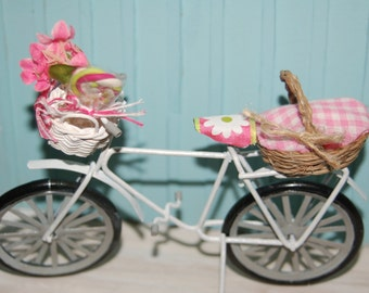 Going on a Picnic -Miniature Shabby Metal Bicycle