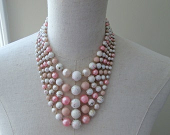 Peach Pink Champagne Gorgeous Multi Strand Beaded Necklace Graduated Japan