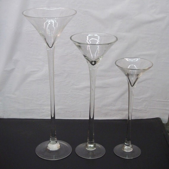 Tall martini glass vases wedding centerpiece