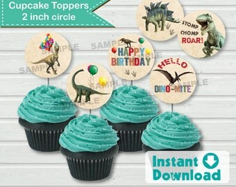 Realistic rustic dinosaur cupcake topper. Instant Download. 6 styles 2 inch circle. Digital DIY file. Non editable. KB141