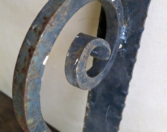 Hand Wrought Iron Gate Pull, Iron Door Handle, Rustic Restoration Hardware, Architectural Salvage