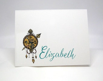 Clock Note Cards, Victorian Clock Note Card, Personalized Note, Thank You Cards, Hand drawn Stationery, Timepiece Boxed Note Cards
