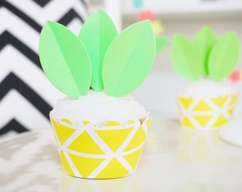 DIY Pineapple Cupcake Wrappers & Toppers - Set of 12 - Luau Party Decorations