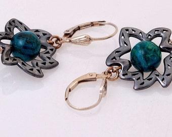 Earrings Sterling silver earrings Dangle earrings Jasper earrings with silver setting