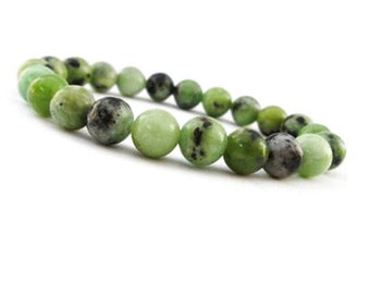 10mm Chrysoprase Bracelet, Green Gemstone, Green Jewelry, Green Stone Bracelet, Chrysoprase Beaded Bracelet, Chrysoprase Elastic Bracelet