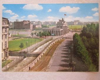 Vintage Postcard, Berlin Wall, Brandenburg Gate Checkpoint, West Germany 1961, Cold War, German Ephemera, Mid Century Post Card, Travel Art
