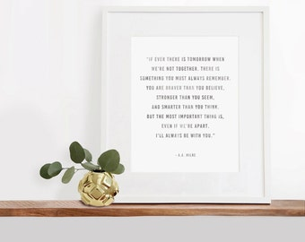 I'll Always Be With You, Winnie the Pooh Digital Printable Art, 8x10 inches, Typography Art Print