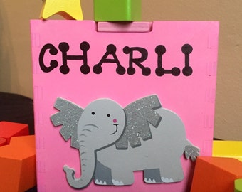 Pink personalized shape sorting toy wooden baby toy elephant customized shapes and colors learning Montessori educational baby toys sparkly