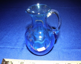 """Handcrafted Hand Blown Glass Small Blue Pitcher w/ Clear Handle 4 3/4"""" Tall"""