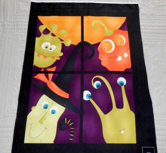 Halloween Quilt Fabric Panel Monster Bash Door or Wall Decor Trick or Treat