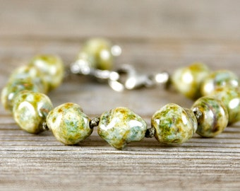 Nature inpsired bracelet, Sage green jewelry, Rustic bracelet, Sterling Silver beads, stacking bracelet, Artisan Sterling, tree charm
