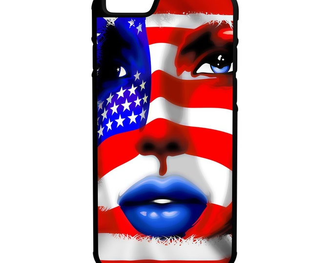 American Flag Face iPhone Galaxy Note HTC LG Hybrid Rubber Protective Case
