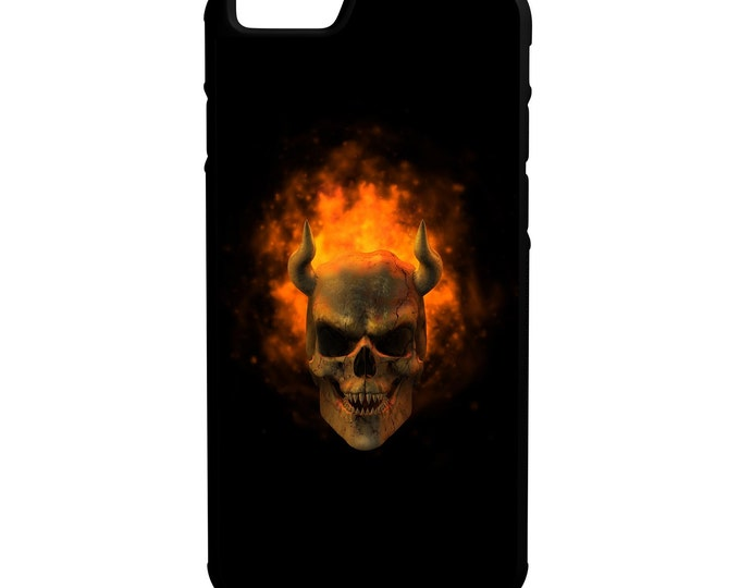 Skull Horns iPhone Galaxy Note LG HTC Hybrid Rubber Protective Case