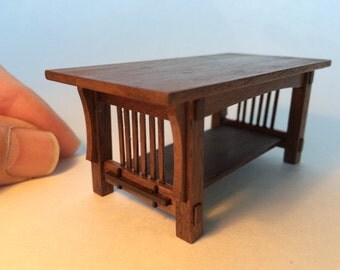 Mission Coffee Table, walnut, 1 inch scale, Stickley Arts and Crafts, handcrafted