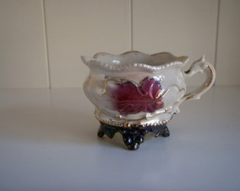 Hand painted Antique German Lusterware Molded Demitasse Footed Tea Cup, Purple and Pearl Luster with Gold Detail