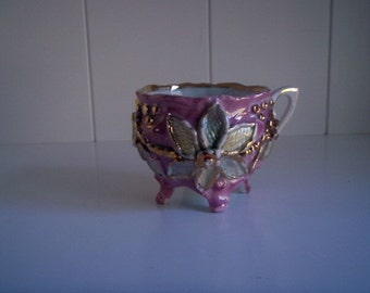 Hand painted Antique German Lusterware Molded Demitasse Footed Tea Cup, Pink, Mint, and Yellow Luster with Gold Detail
